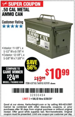 Harbor Freight Coupon .50 CAL METAL AMMO CAN Lot No. 63750/56810/63181 Expired: 6/30/20 - $10.99
