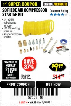 Harbor Freight Coupon 20 PIECE AIR COMPRESSOR STARTER KIT Lot No. 62688/57051/64599 Expired: 3/31/19 - $9.99