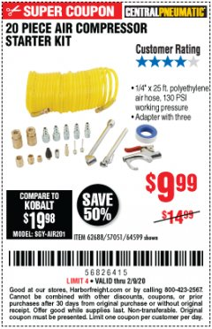 Harbor Freight Coupon 20 PIECE AIR COMPRESSOR STARTER KIT Lot No. 62688/57051/64599 Expired: 2/9/20 - $9.99