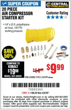 Harbor Freight Coupon 20 PIECE AIR COMPRESSOR STARTER KIT Lot No. 62688/57051/64599 EXPIRES: 6/30/20 - $9.99