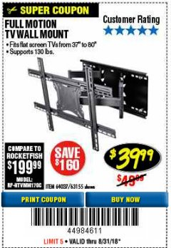 Harbor Freight Coupon FULL MOTION TV WALL MOUNT  Lot No. 64037/63155 Expired: 8/31/18 - $39.99