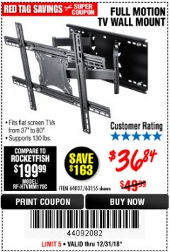 Harbor Freight Coupon FULL MOTION TV WALL MOUNT  Lot No. 64037/63155 Expired: 12/31/18 - $36.84