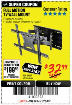 Harbor Freight Coupon FULL MOTION TV WALL MOUNT  Lot No. 64037/63155 Expired: 1/20/19 - $32.99