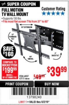 Harbor Freight Coupon FULL MOTION TV WALL MOUNT  Lot No. 64037/63155 Expired: 6/2/19 - $39.99