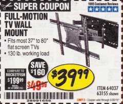 Harbor Freight Coupon FULL MOTION TV WALL MOUNT  Lot No. 64037/63155 Expired: 6/30/19 - $39.99