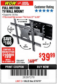 Harbor Freight Coupon FULL MOTION TV WALL MOUNT  Lot No. 64037/63155 Expired: 6/16/19 - $39.99