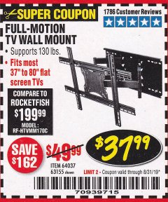 Harbor Freight Coupon FULL MOTION TV WALL MOUNT  Lot No. 64037/63155 Expired: 8/31/19 - $37.99