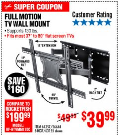 Harbor Freight Coupon FULL MOTION TV WALL MOUNT  Lot No. 64037/63155 Expired: 10/4/19 - $39.99