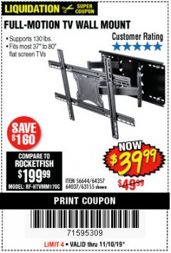 Harbor Freight Coupon FULL MOTION TV WALL MOUNT  Lot No. 64037/63155 Expired: 11/10/19 - $39.99