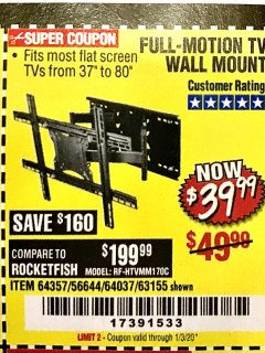 Harbor Freight Coupon FULL MOTION TV WALL MOUNT  Lot No. 64037/63155 Expired: 1/3/20 - $39.99