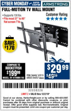 Harbor Freight Coupon FULL MOTION TV WALL MOUNT  Lot No. 64037/63155 Expired: 12/1/19 - $29.99