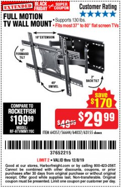 Harbor Freight Coupon FULL MOTION TV WALL MOUNT  Lot No. 64037/63155 Expired: 12/8/19 - $29.99