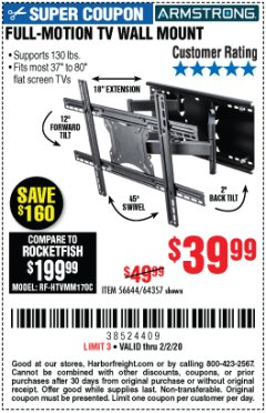 Harbor Freight Coupon FULL MOTION TV WALL MOUNT  Lot No. 64037/63155 Expired: 2/2/20 - $39.99