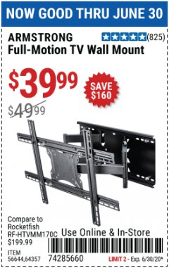 Harbor Freight Coupon FULL MOTION TV WALL MOUNT  Lot No. 64037/63155 Expired: 6/30/20 - $39.99