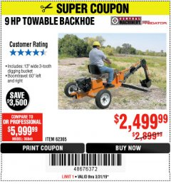 Harbor Freight Coupon TOWABLE RIDE-ON TRENCHER Lot No. 62365/65162 Expired: 3/31/19 - $2499.99