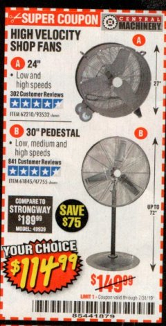 "Harbor Freight Coupon 30"" HIGH VELOCITY PEDESTAL SHOP FAN Lot No. 61845/47755 Expired: 7/31/19 - $114.99"