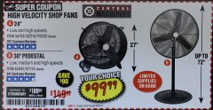 "Harbor Freight Coupon 30"" HIGH VELOCITY PEDESTAL SHOP FAN Lot No. 61845/47755 Expired: 9/30/19 - $99.99"