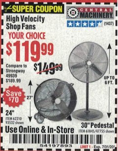"Harbor Freight Coupon 30"" HIGH VELOCITY PEDESTAL SHOP FAN Lot No. 61845/47755 Expired: 7/31/20 - $119.99"
