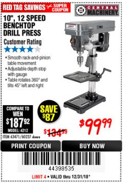 "Harbor Freight Coupon 10"", 12 SPEED BENCHTOP DRILL PRESS Lot No. 63471/62408/60237 Expired: 12/31/18 - $99.99"