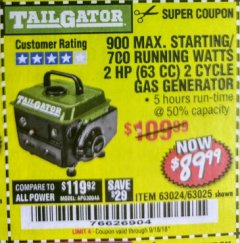 Harbor Freight Coupon TAILGATOR 900 PEAK / 700 RUNNING WATTS, 2HP (63CC) 2 CYCLE GAS GENERATOR EPA/CARB Lot No. 63024/63025 Expired: 9/18/18 - $89.99