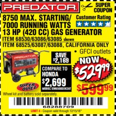 Harbor Freight Coupon TAILGATOR 900 PEAK / 700 RUNNING WATTS, 2HP (63CC) 2 CYCLE GAS GENERATOR EPA/CARB Lot No. 63024/63025 Expired: 12/15/18 - $529.99