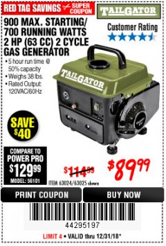 Harbor Freight Coupon TAILGATOR 900 PEAK / 700 RUNNING WATTS, 2HP (63CC) 2 CYCLE GAS GENERATOR EPA/CARB Lot No. 63024/63025 Expired: 12/31/18 - $89.99