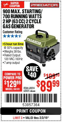 Harbor Freight Coupon TAILGATOR 900 PEAK / 700 RUNNING WATTS, 2HP (63CC) 2 CYCLE GAS GENERATOR EPA/CARB Lot No. 63024/63025 Expired: 2/3/19 - $89.99