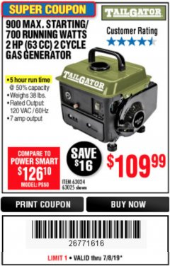 Harbor Freight Coupon TAILGATOR 900 PEAK / 700 RUNNING WATTS, 2HP (63CC) 2 CYCLE GAS GENERATOR EPA/CARB Lot No. 63024/63025 Expired: 7/7/19 - $109.99