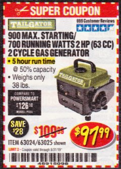 Harbor Freight Coupon TAILGATOR 900 PEAK / 700 RUNNING WATTS, 2HP (63CC) 2 CYCLE GAS GENERATOR EPA/CARB Lot No. 63024/63025 Expired: 8/31/19 - $97.99