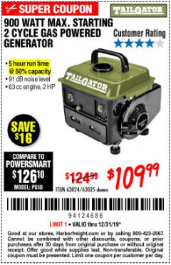 Harbor Freight Coupon TAILGATOR 900 PEAK / 700 RUNNING WATTS, 2HP (63CC) 2 CYCLE GAS GENERATOR EPA/CARB Lot No. 63024/63025 Expired: 12/31/19 - $109.99