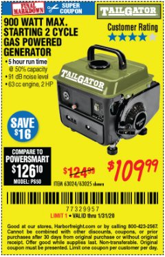 Harbor Freight Coupon TAILGATOR 900 PEAK / 700 RUNNING WATTS, 2HP (63CC) 2 CYCLE GAS GENERATOR EPA/CARB Lot No. 63024/63025 Expired: 1/31/20 - $109.99
