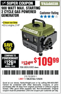 Harbor Freight Coupon TAILGATOR 900 PEAK / 700 RUNNING WATTS, 2HP (63CC) 2 CYCLE GAS GENERATOR EPA/CARB Lot No. 63024/63025 Expired: 1/26/20 - $109.99