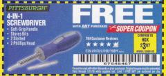 Harbor Freight FREE Coupon 4-IN-1 SCREWDRIVER Lot No. 39631/69470/61988 Expired: 1/31/18 - FWP