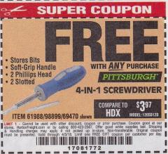 Harbor Freight FREE Coupon 4-IN-1 SCREWDRIVER Lot No. 39631/69470/61988 Expired: 4/3/18 - FWP