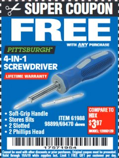 Harbor Freight FREE Coupon 4-IN-1 SCREWDRIVER Lot No. 39631/69470/61988 Expired: 10/5/18 - FWP
