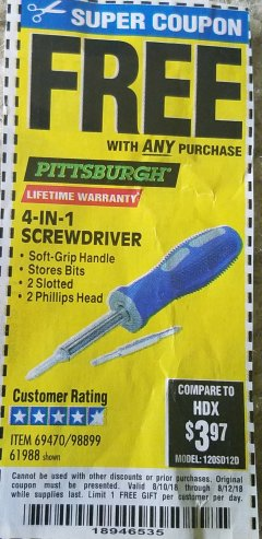 Harbor Freight FREE Coupon 4-IN-1 SCREWDRIVER Lot No. 39631/69470/61988 Expired: 8/12/18 - FWP