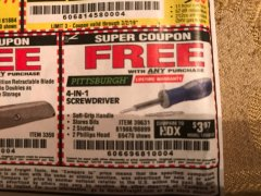 Harbor Freight FREE Coupon 4-IN-1 SCREWDRIVER Lot No. 39631/69470/61988 Expired: 3/2/19 - FWP