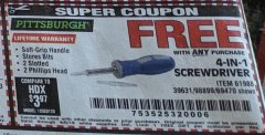 Harbor Freight FREE Coupon 4-IN-1 SCREWDRIVER Lot No. 39631/69470/61988 Expired: 4/6/19 - FWP