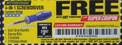 Harbor Freight FREE Coupon 4-IN-1 SCREWDRIVER Lot No. 39631/69470/61988 Expired: 10/31/18 - FWP