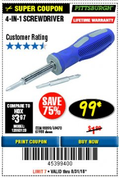 Harbor Freight Coupon 4-IN-1 SCREWDRIVER Lot No. 39631/69470/61988 Expired: 8/31/18 - $0.99