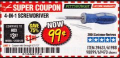 Harbor Freight Coupon 4-IN-1 SCREWDRIVER Lot No. 39631/69470/61988 Expired: 8/31/19 - $0.99