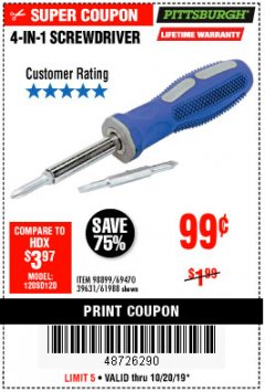 Harbor Freight Coupon 4-IN-1 SCREWDRIVER Lot No. 39631/69470/61988 Expired: 10/20/19 - $0.99