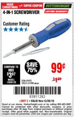 Harbor Freight Coupon 4-IN-1 SCREWDRIVER Lot No. 39631/69470/61988 Expired: 12/26/19 - $0.99