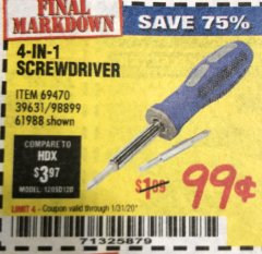 Harbor Freight Coupon 4-IN-1 SCREWDRIVER Lot No. 39631/69470/61988 Expired: 1/31/20 - $0.99