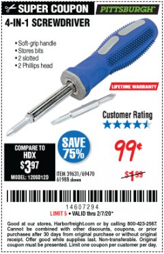 Harbor Freight Coupon 4-IN-1 SCREWDRIVER Lot No. 39631/69470/61988 Expired: 2/7/20 - $0.99