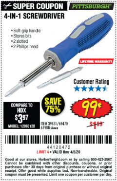 Harbor Freight Coupon 4-IN-1 SCREWDRIVER Lot No. 39631/69470/61988 Expired: 6/30/20 - $0.99
