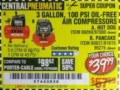 Harbor Freight Coupon 3 GALLON, 100 PSI OILLESS AIR COMPRESSORS Lot No. 69269/97080/60637/61615/95275 Expired: 10/30/18 - $39.99