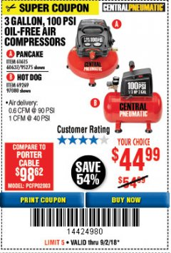 Harbor Freight Coupon 3 GALLON, 100 PSI OILLESS AIR COMPRESSORS Lot No. 69269/97080/60637/61615/95275 Expired: 9/2/18 - $44.99