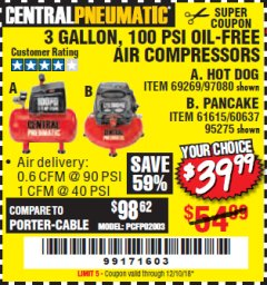 Harbor Freight Coupon 3 GALLON, 100 PSI OILLESS AIR COMPRESSORS Lot No. 69269/97080/60637/61615/95275 Expired: 12/10/18 - $39.99