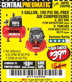 Harbor Freight Coupon 3 GALLON, 100 PSI OILLESS AIR COMPRESSORS Lot No. 69269/97080/60637/61615/95275 Expired: 11/30/18 - $39.99